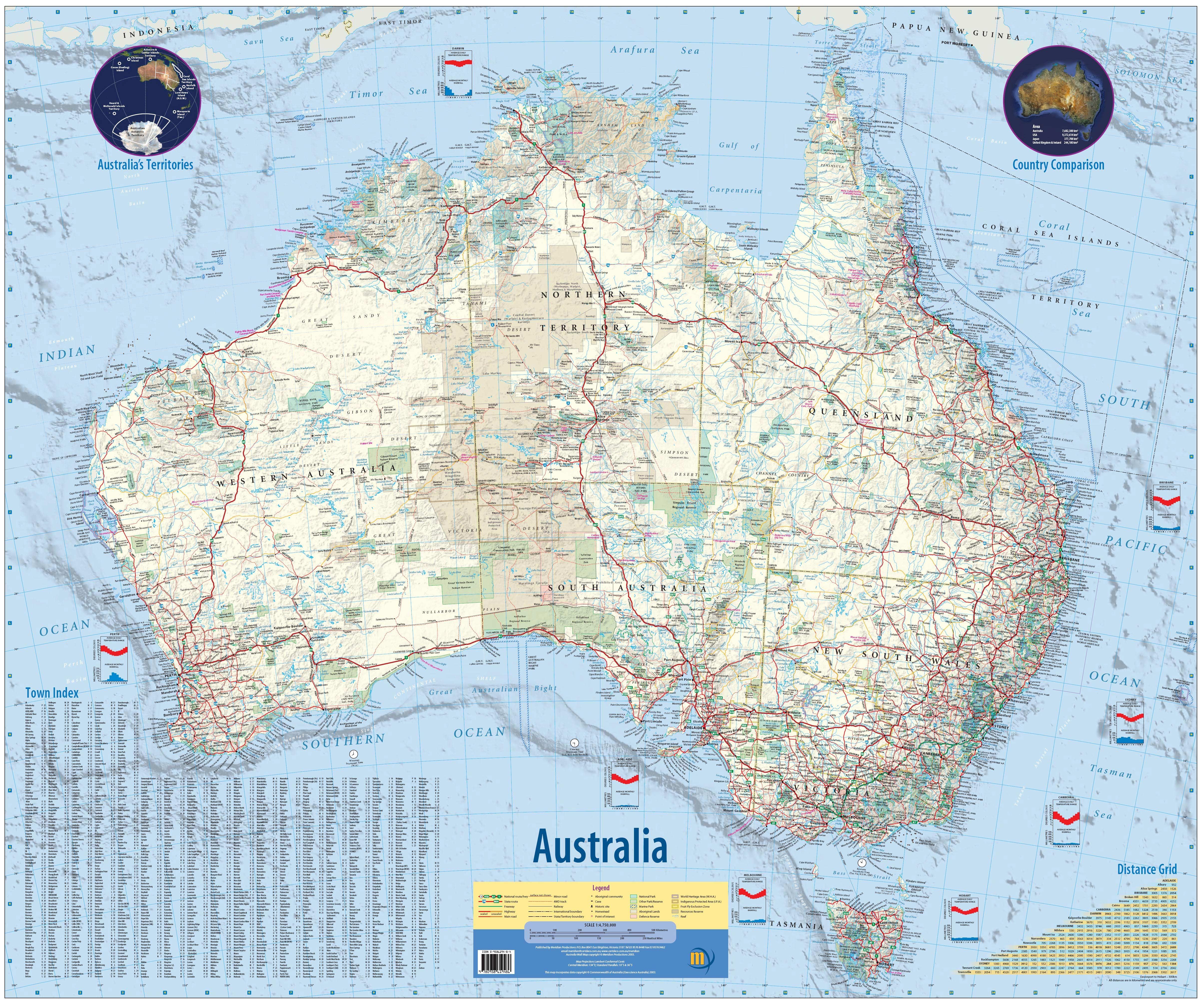 Podrobná mapa austrálie